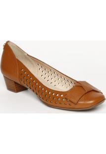 Sapato Tradicional Em Couro Com Laã§O- Marrom- Salto:Jorge Bischoff
