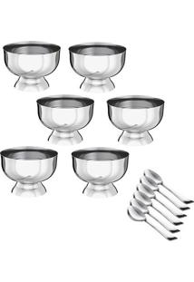 Conjunto Para Sobremesa De Taças & Colheres- Inox- 1Euro Homeware