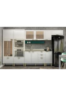 Cozinha Completa 9 Peças Americana Multimóveis 5653Mf Branco/Verde