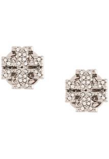 Tory Burch Crystal Logo Stud Earrings - Prateado