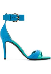 Emilio Pucci Sandália Color Block De Couro - Azul