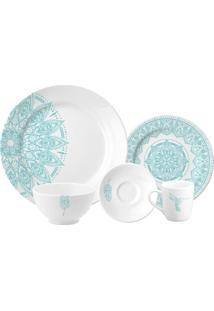 Aparelho De Jantar Casual Collection Damma 20 Peças - Schmidt - Branco / Azul