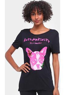 Camiseta Carmim Cachorrinho Manga Curta Feminina - Feminino-Preto