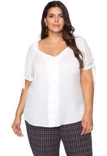 Blusa Almaria Plus Size Pianeta Amarração Off White Branco