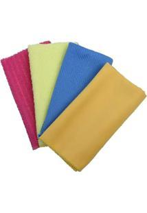 Jogo De Toalhas Para Limpeza Kenya- Amarelo & Rosa- M.Cassab