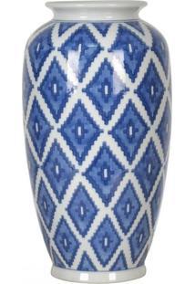 Vaso De Cerã¢Mica Branco E Azul Ø17Cm X 27Cm - Incolor - Dafiti
