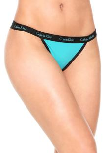 Calcinha Calvin Klein Underwear Tanga Logo Verde