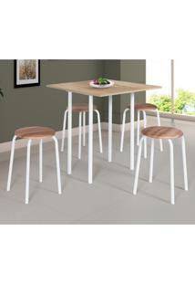 Conjunto De Mesa De Cozinha Dobrável Com 4 Lugares Expert Corino Carvalho E Branco 72 Cm
