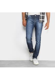 Calça Jeans Slim Preston Classic Elastano Masculina - Masculino-Jeans