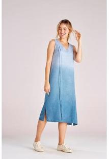 Vestido Yogini Jasmin Midi Feminino - Feminino-Azul Petróleo