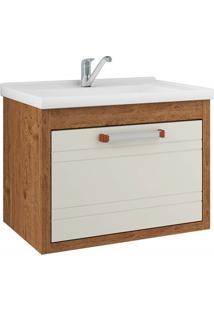 Gabinete Suspenso Para Banheiro Jade 44X59Cm Amêndoa E Off White