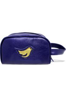 Necessarie De Couro Little Bird - Azul Marinho