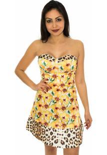 Vestido Capim Canela Tomara-Que-Caia Bud Flowers