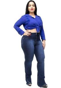 Calça Jeans Plus Size Credencial Flare Aldaiza Feminina - Feminino-Azul