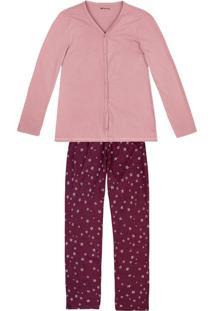 Pijama Feminino Em Malha De Algodão Com Estampa E Peitilho Funcional