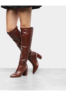 Bota Couro Slouch Over The Knee Capodarte Feminina - Feminino-Marrom