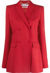 Off-White Blazer Com Abotoamento Duplo E Logo Bordado - Vermelho