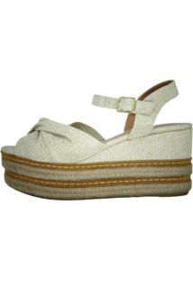 Anabela Arrive Fashion Flora Linho Off-White - Tricae
