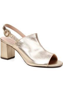Sandália Couro Shoestock For You Salto Bloco Médio Feminina - Feminino-Ouro
