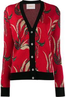 La Doublej Cardigan Com Padronagem - Vermelho