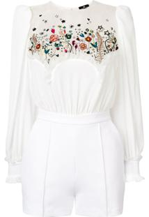 Elisabetta Franchi Floral Embroidered Playsuit - Branco