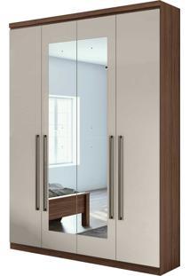 Guarda Roupa Solteiro Com Espelho 4 Portas 2 Gavetas Alonzo New Bege - Tricae
