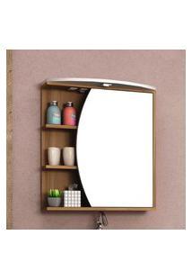 Espelheira Para Banheiro 1 Porta 3 Prateleiras Bosi Duna Led Nogal E Branco