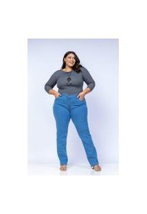 Calça Reta Almaria Plus Size Shyros Jeans Azul