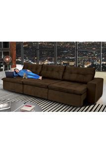 Sofá Austrália 3,82M Retrátil, Reclinável, Molas E Pillow No Assento Tecido Suede Café Cama Inbox