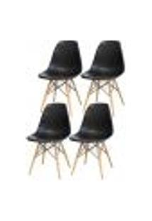 Kit 04 Cadeiras Decorativas Eiffel Charles Eames F03 Preto Com Pés De Madeira - Lyam Decor