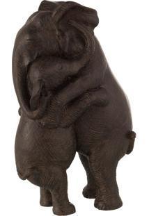 Escultura Udecor Elefantes Se Abracando 22 X 15 X 36 Cm Marrom