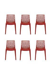 Conjunto De 6 Cadeiras Gruv Vermelha