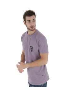 Camiseta Longline Hd Estampada Minimal - Masculina - Roxo Claro