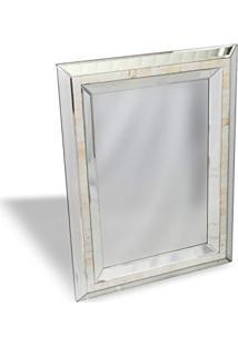 Espelho De Parede Retangular Madrepérolas 60Cmx80Cm Nakine