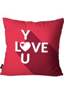 Capa De Almofada Pump Up Decorativa Avulsa Pink Love You 45X45Cm