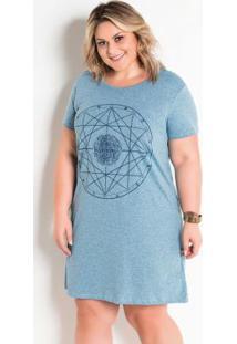 Vestido Estampa Signos Plus Size Mescla Azul