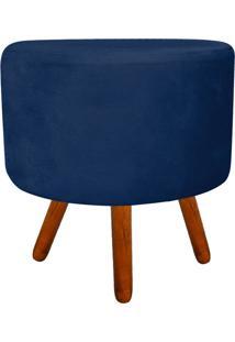 Puff Banqueta Decorativa Dora Redondo Suede Azul Marinho - D'Rossi