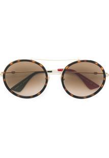 e7ec62552428d Gucci Eyewear Óculos De Sol Arredondado - Marrom