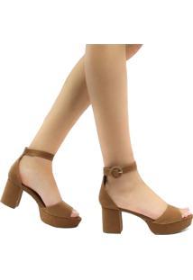 Sandália Zariff Shoes Meia Pata Nobuck Fivela Marrom
