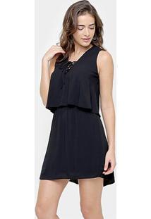 Vestido Sommer Sobreposto - Feminino-Preto
