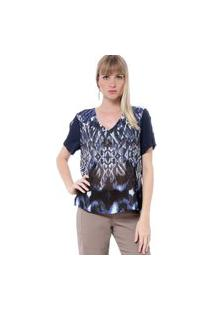 Blusa Energia Fashion Decote Redondo Fendas Manga Azul