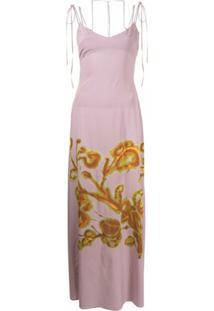 Knwls Slip Dress Com Estampa Floral - Rosa
