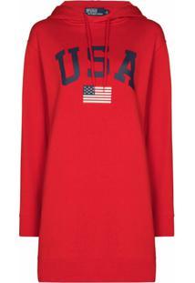 Polo Ralph Lauren Vestido Com Capuz E Estampa Usa - Vermelho