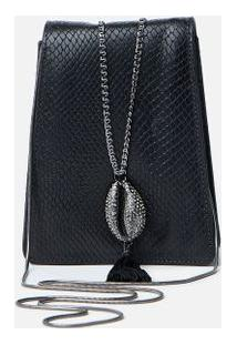 Clutch Leather Búzios Preto - U