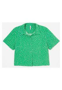 Camisa Curta Em Viscose Estampa Poá | Blue Steel | Verde | Pp