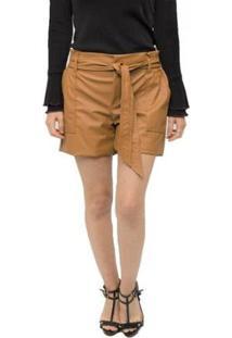 Shorts Leather Miss Joy Clochard Feminino - Feminino-Caramelo