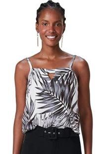 Blusa Branco Tropical Texturizada