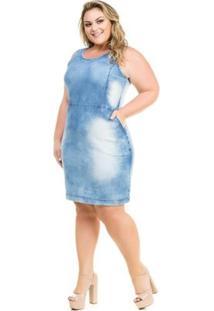 7ea0b253d R$ 189,90. Zattini Vestido Elastano Jeans Tom Claro Plus Size Azul Com Bolso  ...