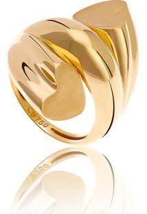 Anel De Ouro 18K Espiral Com Coração Nas Extremidades