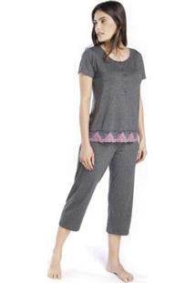 Pijama Inspirate Capri Com Barrado Rendado Feminino - Feminino-Cinza